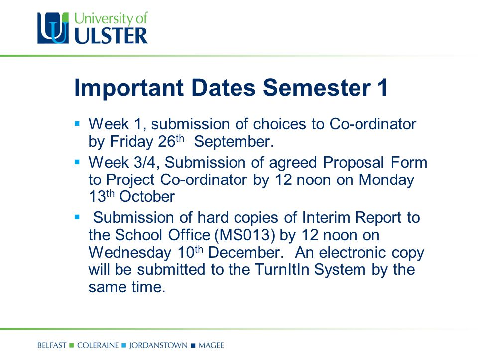 Important Dates Semester 1