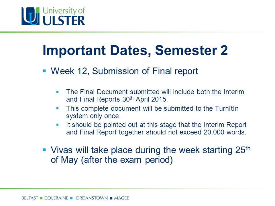 Important Dates, Semester 2