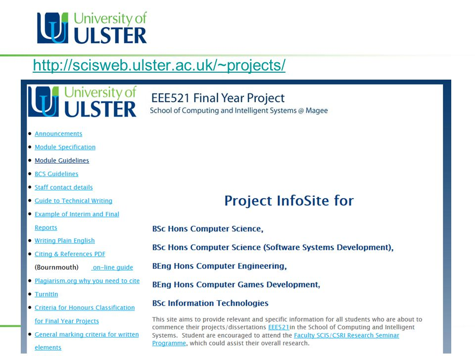http://scisweb.ulster.ac.uk/~projects/