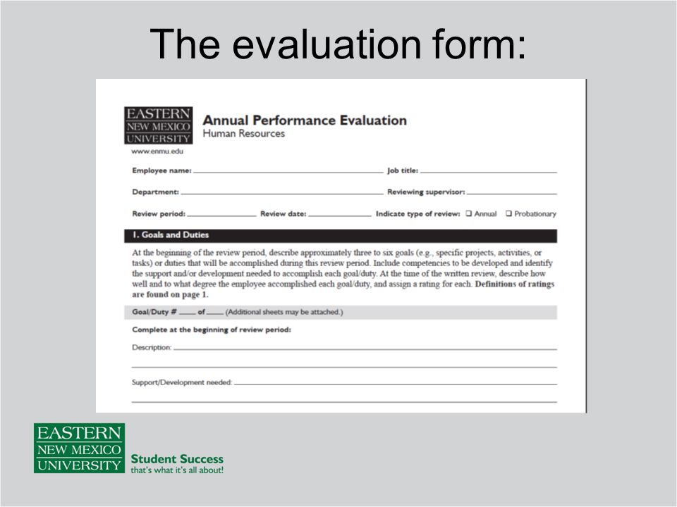 The evaluation form: