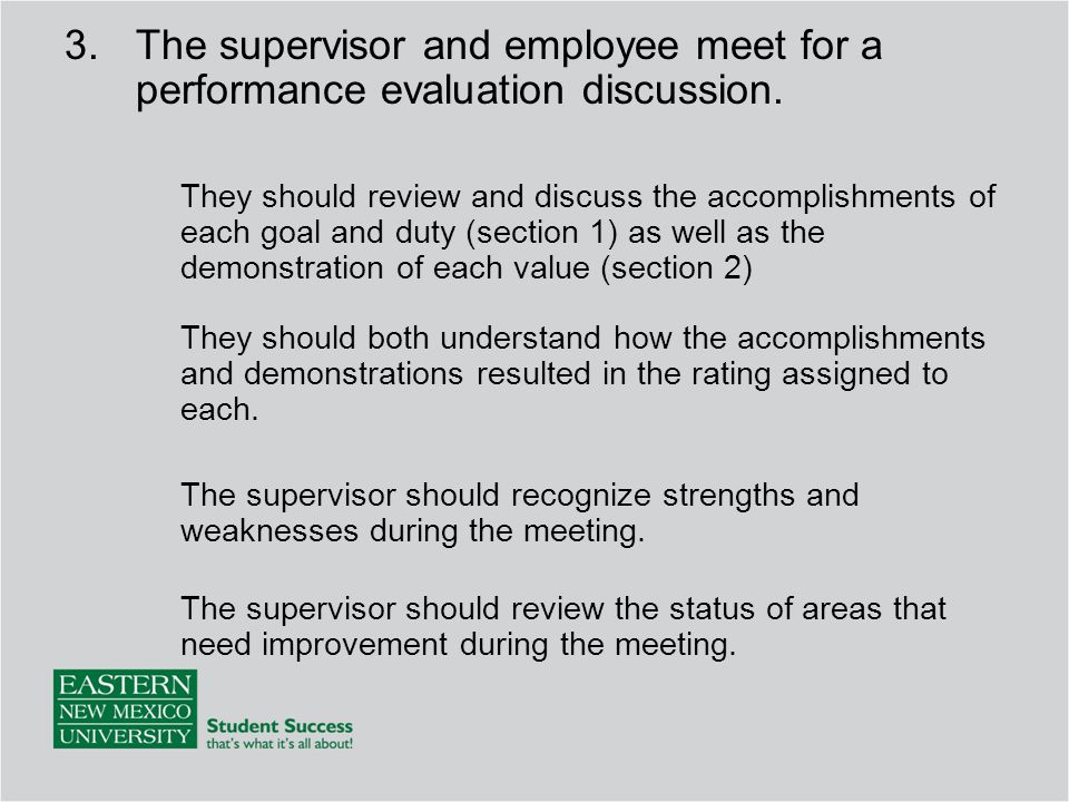 The supervisor and employee meet for a performance evaluation discussion.