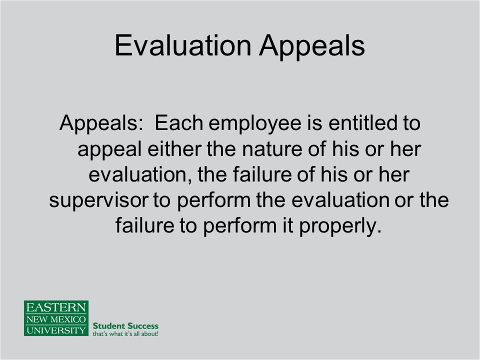 Evaluation Appeals