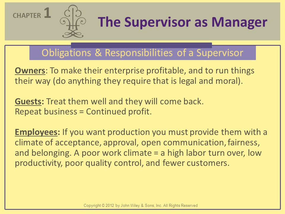 Obligations & Responsibilities of a Supervisor