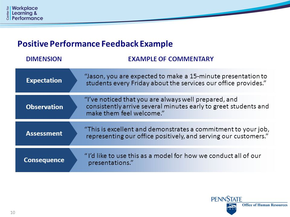 Positive Performance Feedback Example