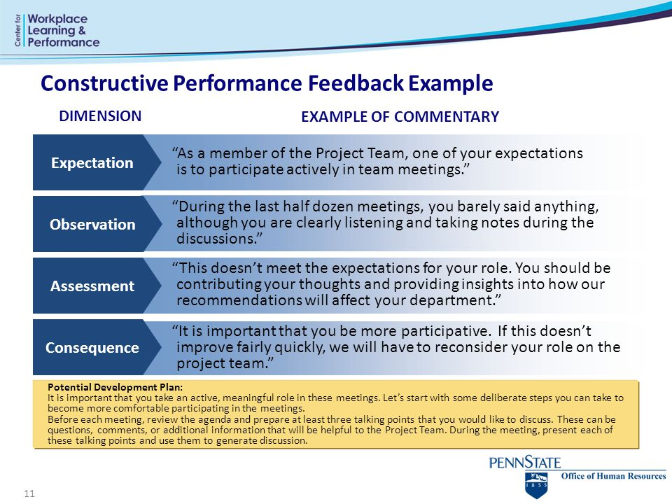 Constructive Performance Feedback Example