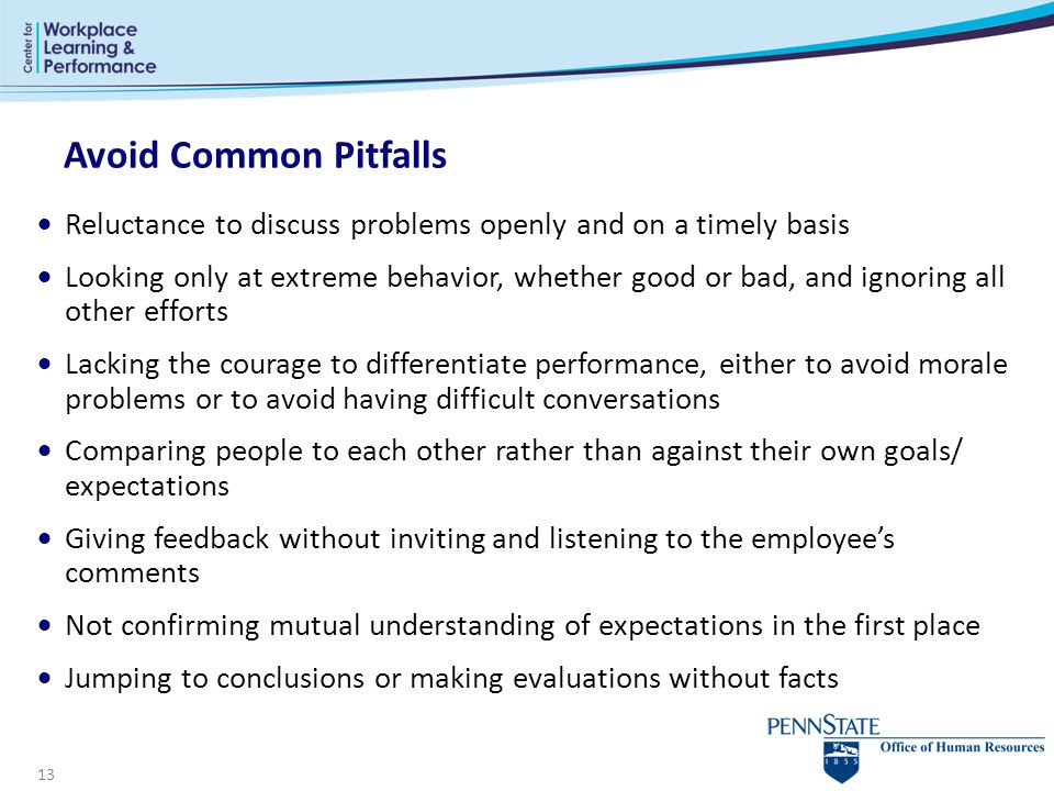 Avoid Common Pitfalls Reluctance to discuss problems openly and on a timely basis.