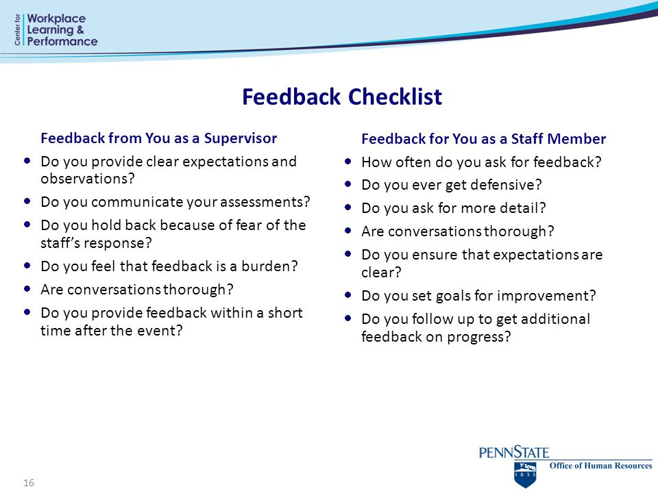 Feedback Checklist Feedback from You as a Supervisor