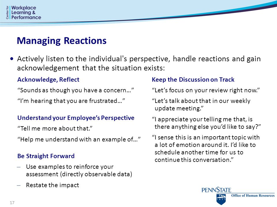 Managing Reactions Actively listen to the individual s perspective, handle reactions and gain acknowledgement that the situation exists:
