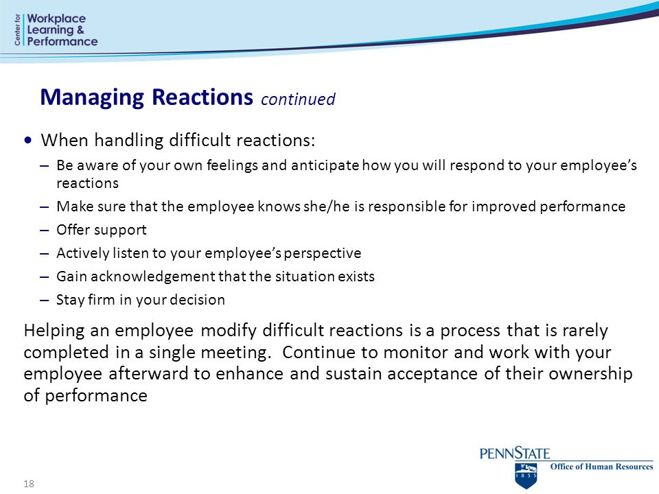 Managing Reactions continued