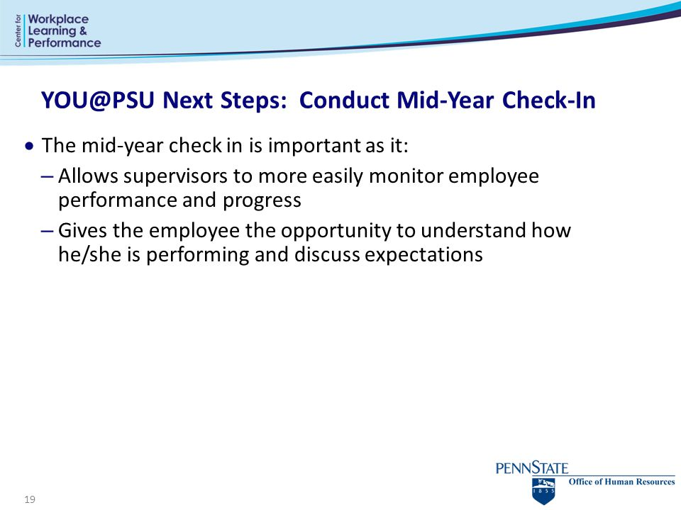 YOU@PSU Next Steps: Conduct Mid-Year Check-In