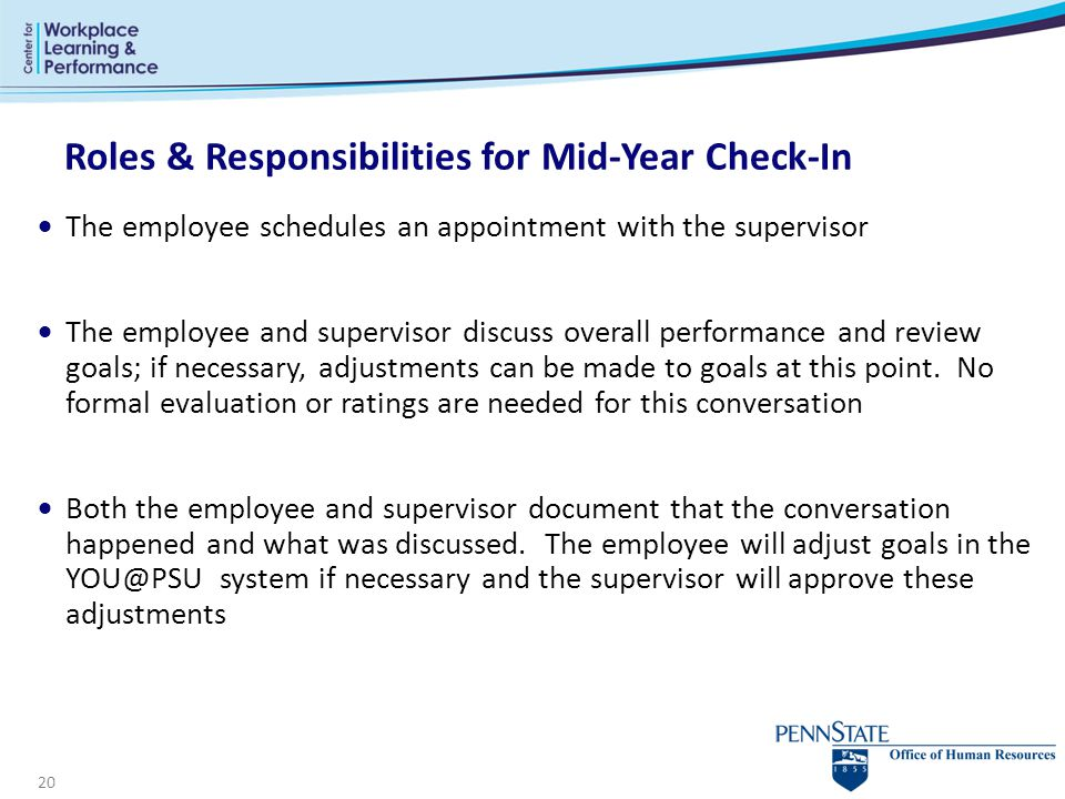 Roles & Responsibilities for Mid-Year Check-In