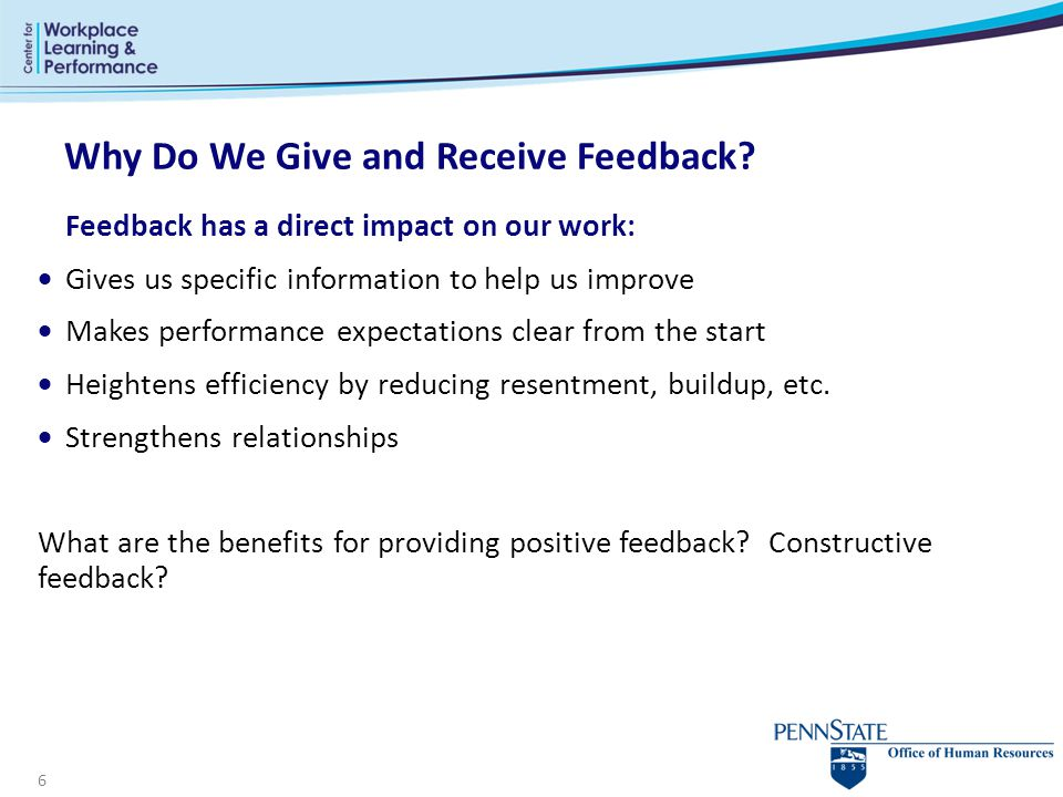 Why Do We Give and Receive Feedback
