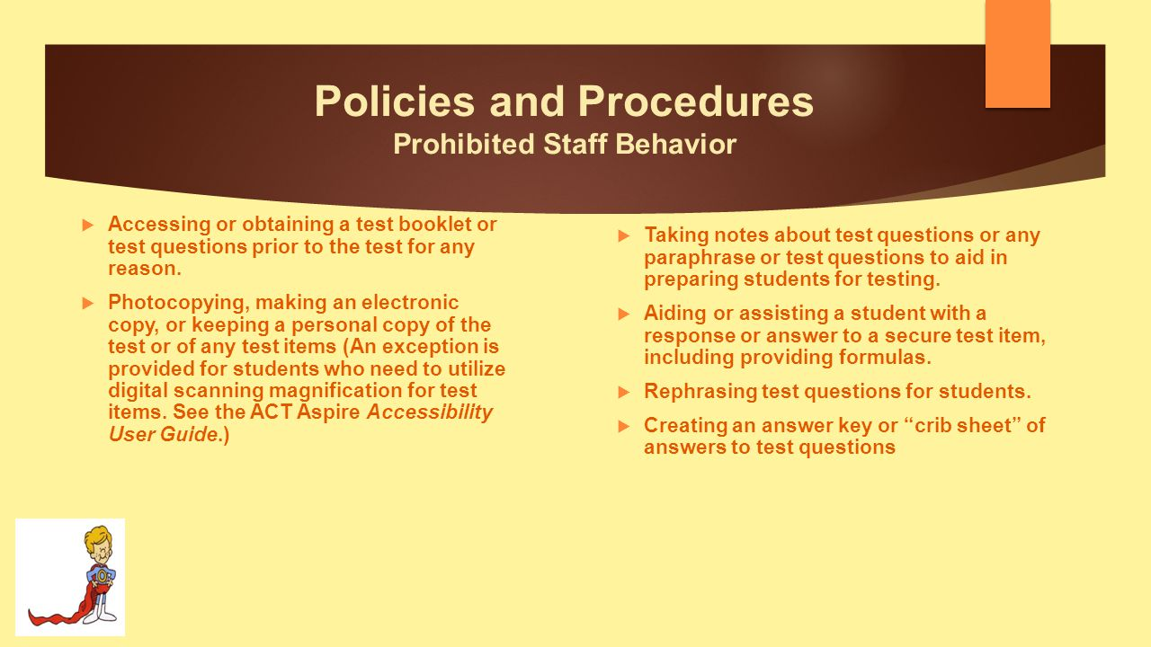 Policies and Procedures Prohibited Staff Behavior