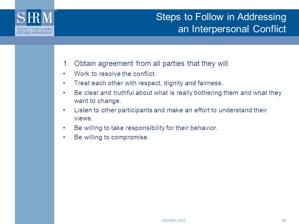 Steps to Follow in Addressing an Interpersonal Conflict