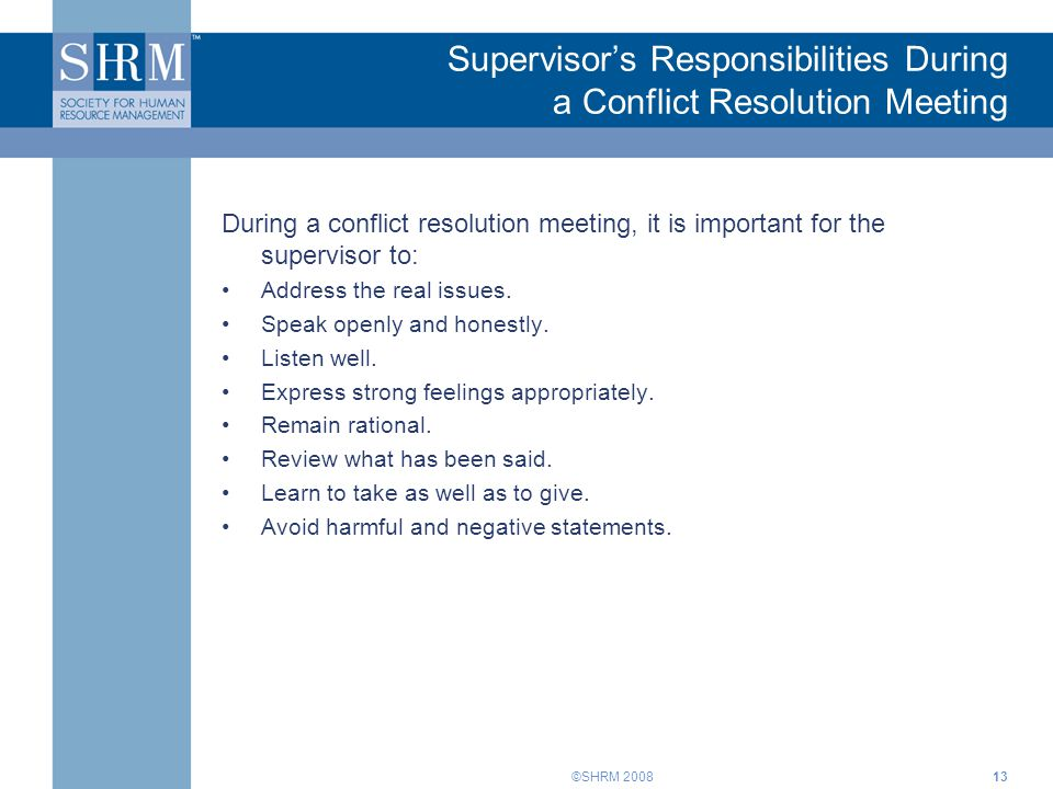 Supervisor's Responsibilities During a Conflict Resolution Meeting