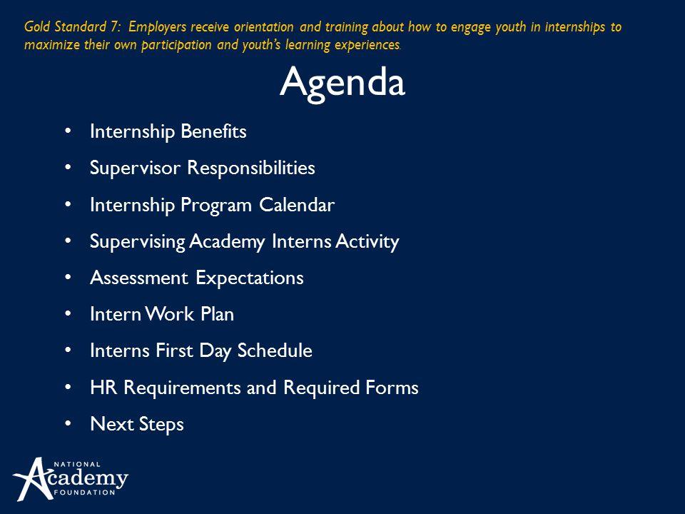 Agenda Internship Benefits Supervisor Responsibilities