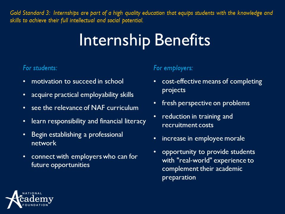 Internship Benefits For students: motivation to succeed in school