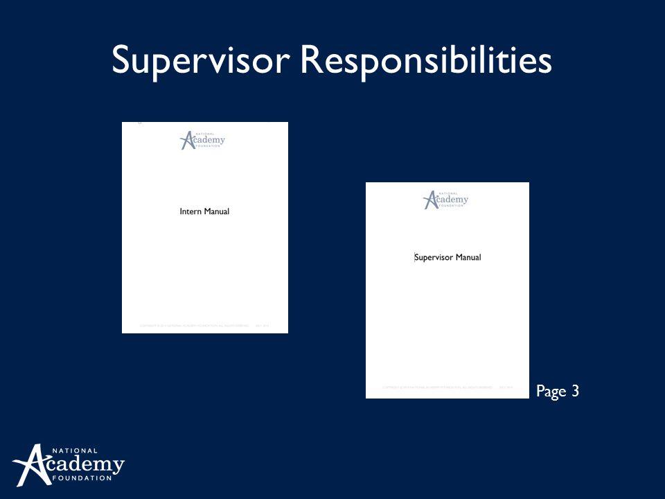 Supervisor Responsibilities