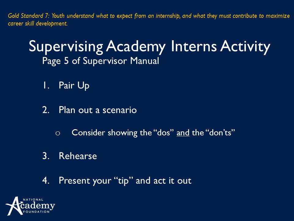 Supervising Academy Interns Activity