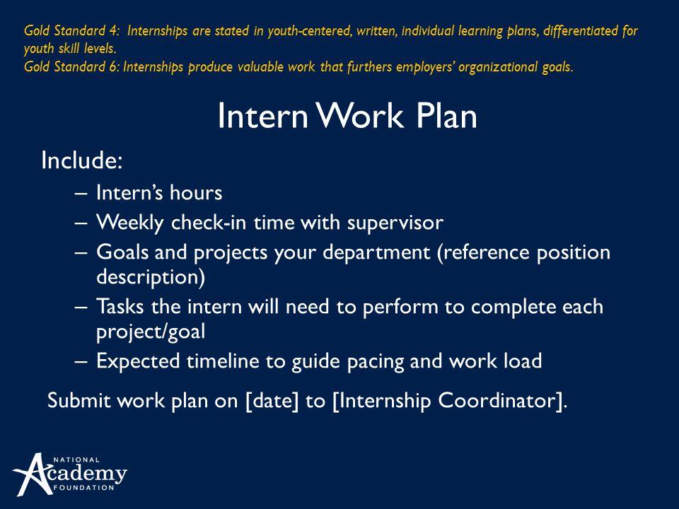 Intern Work Plan Include: Intern's hours