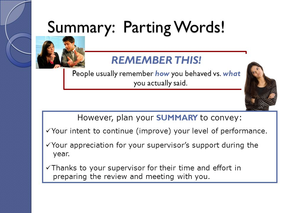 Summary: Parting Words!