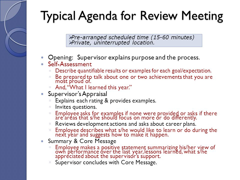 Typical Agenda for Review Meeting