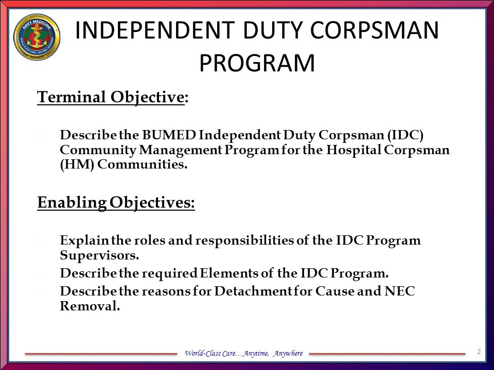 INDEPENDENT DUTY CORPSMAN PROGRAM