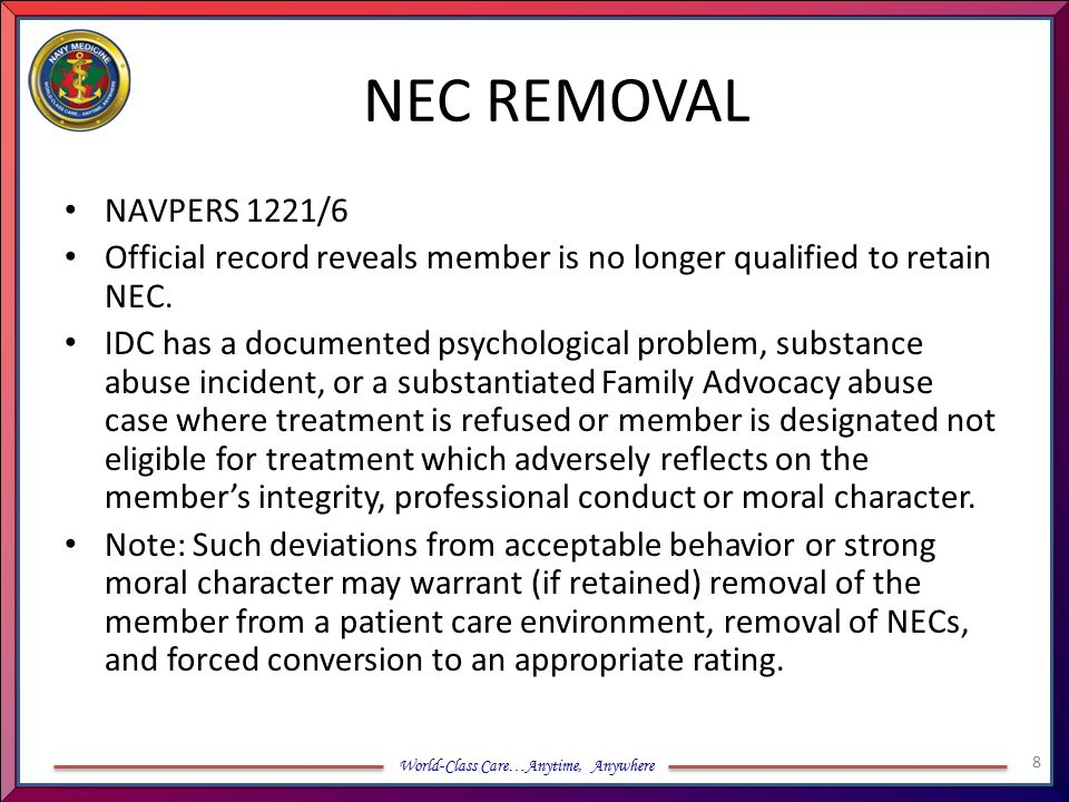 NEC REMOVAL NAVPERS 1221/6. Official record reveals member is no longer qualified to retain NEC.