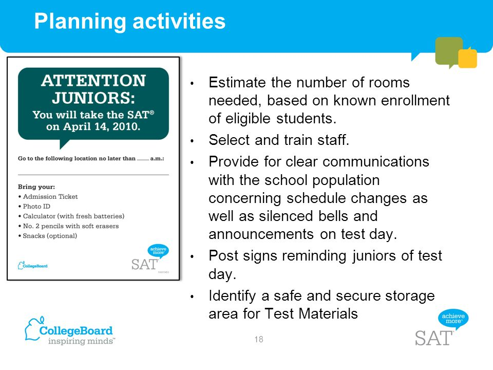 Planning activities Estimate the number of rooms needed, based on known enrollment of eligible students.