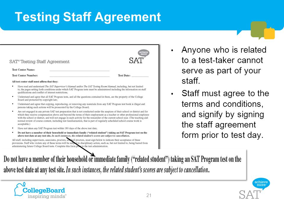 Testing Staff Agreement