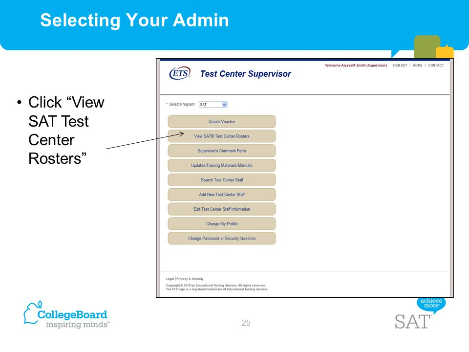 Selecting Your Admin Click View SAT Test Center Rosters
