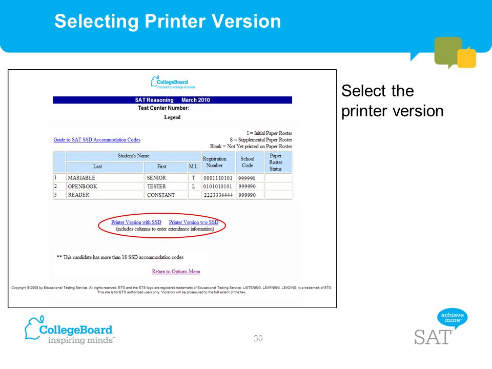 Selecting Printer Version