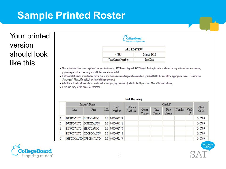 Sample Printed Roster Your printed version should look like this.