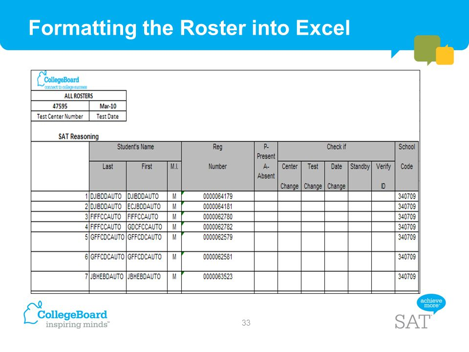 Formatting the Roster into Excel
