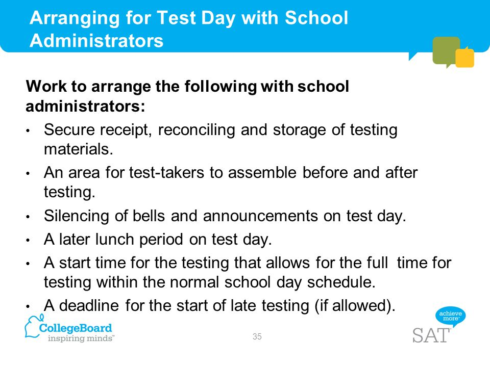Arranging for Test Day with School Administrators