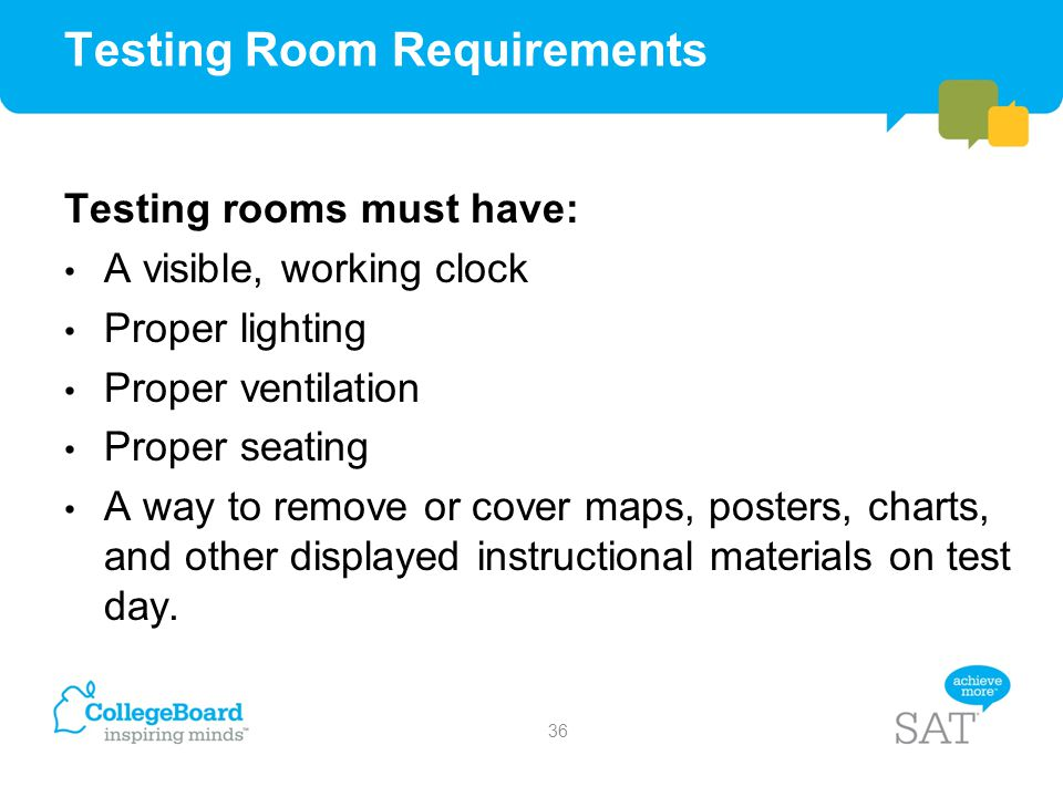 Testing Room Requirements