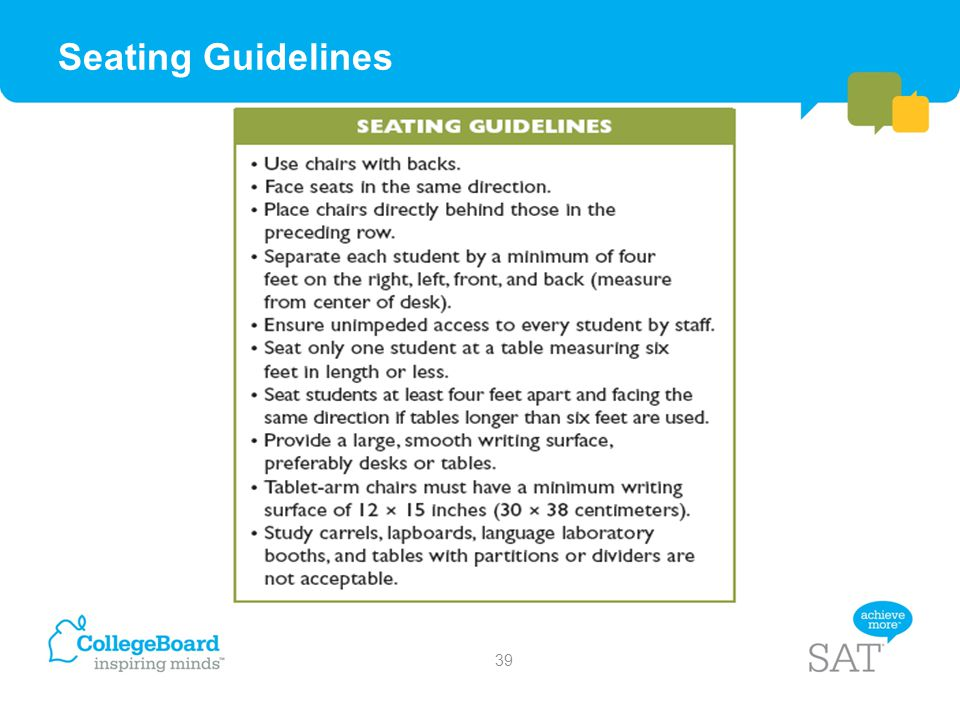 Seating Guidelines
