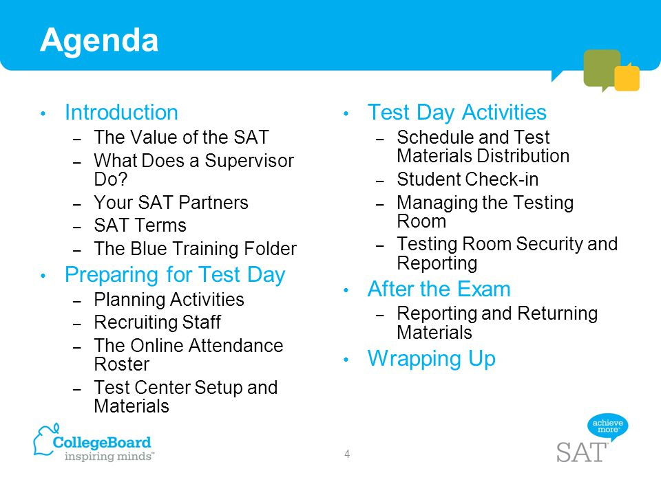 Agenda Introduction Preparing for Test Day Test Day Activities