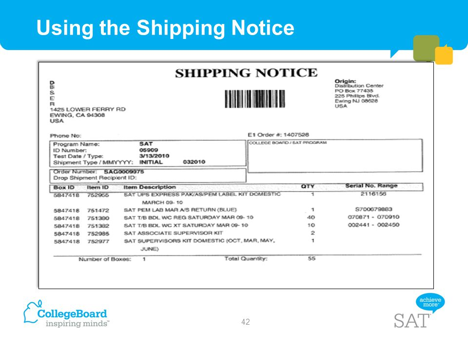 Using the Shipping Notice