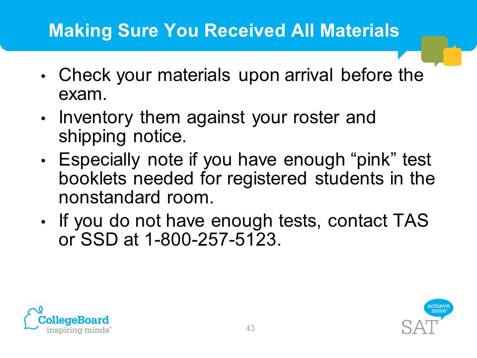 Making Sure You Received All Materials