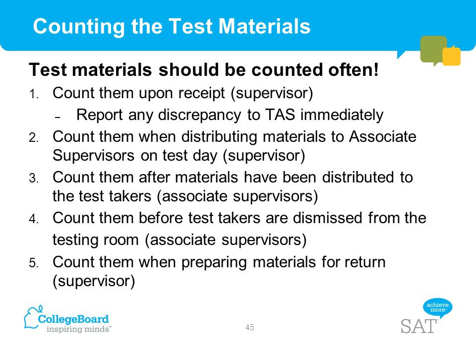 Counting the Test Materials