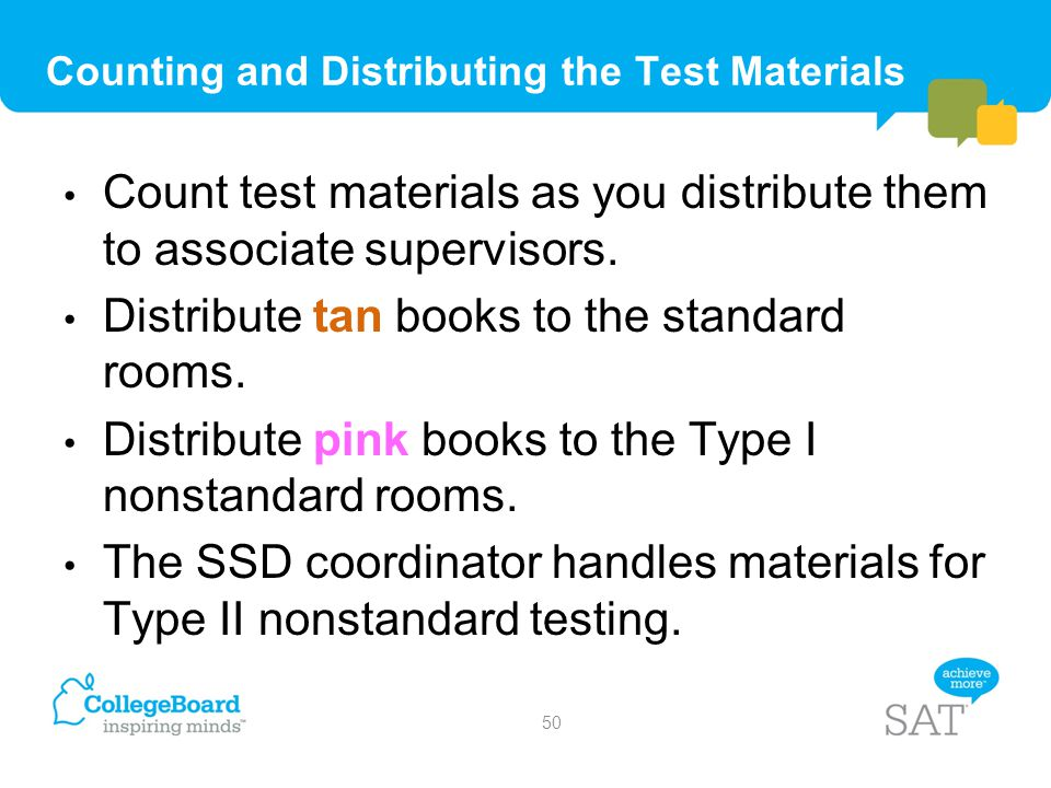 Counting and Distributing the Test Materials