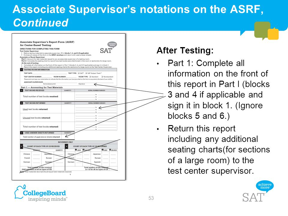 Associate Supervisor's notations on the ASRF, Continued