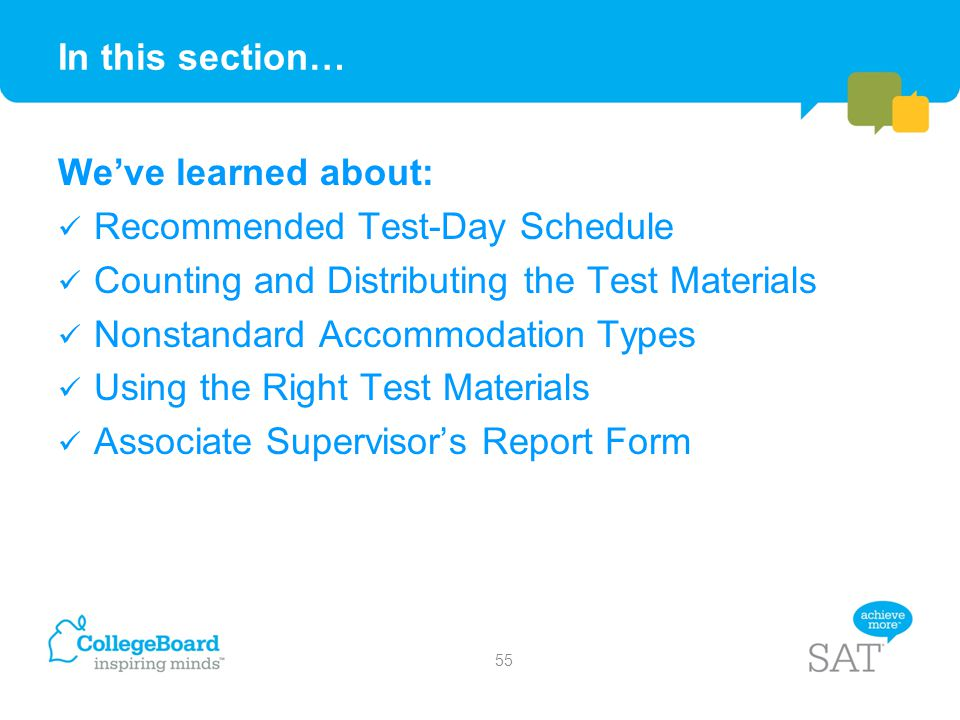 In this section… We've learned about: Recommended Test-Day Schedule. Counting and Distributing the Test Materials.