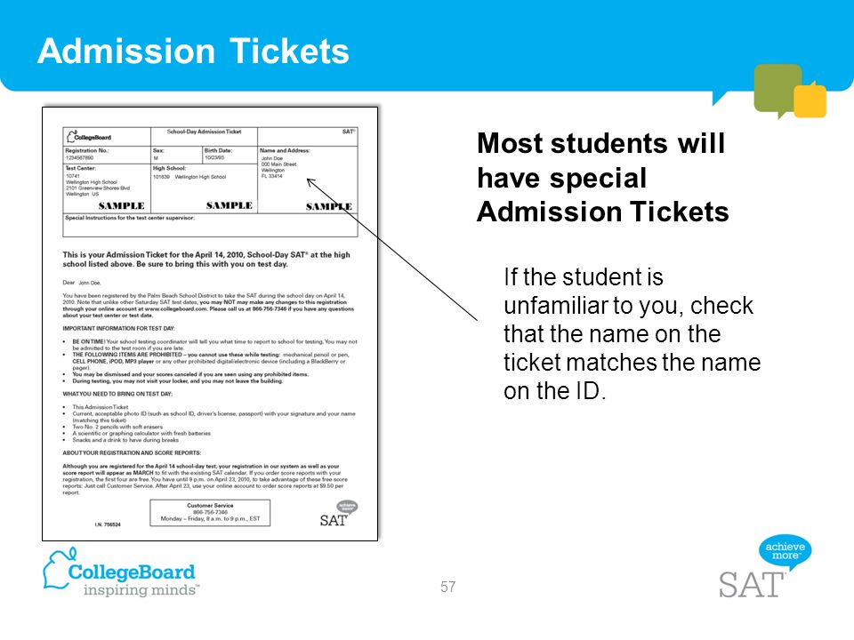 Admission Tickets Most students will have special Admission Tickets