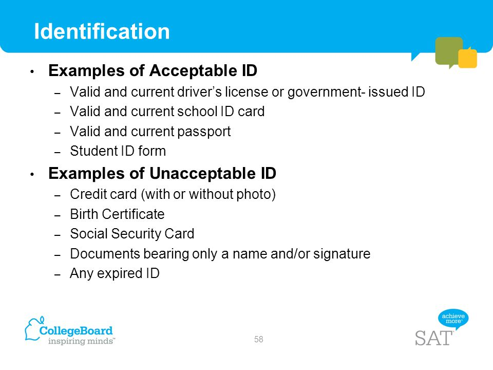 Identification Examples of Acceptable ID Examples of Unacceptable ID