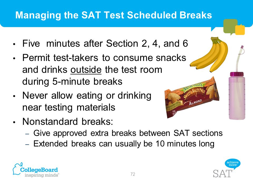 Managing the SAT Test Scheduled Breaks