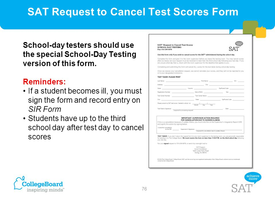 SAT Request to Cancel Test Scores Form