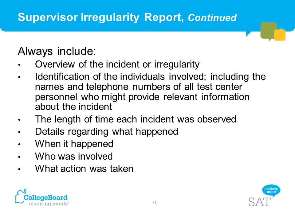 Supervisor Irregularity Report, Continued