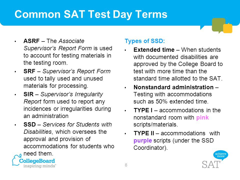 Common SAT Test Day Terms